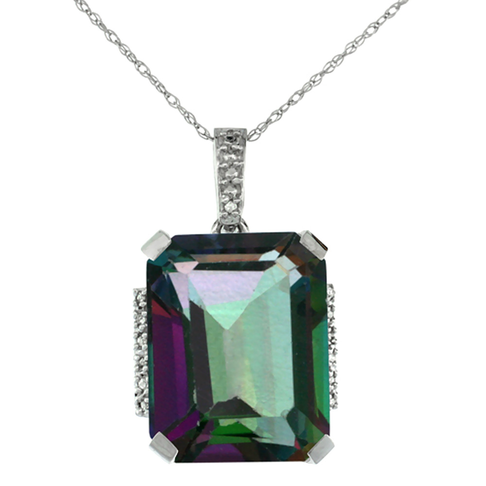 10K White Gold Natural Mystic Topaz Pendant Octagon 16x12 mm & Diamond Accents