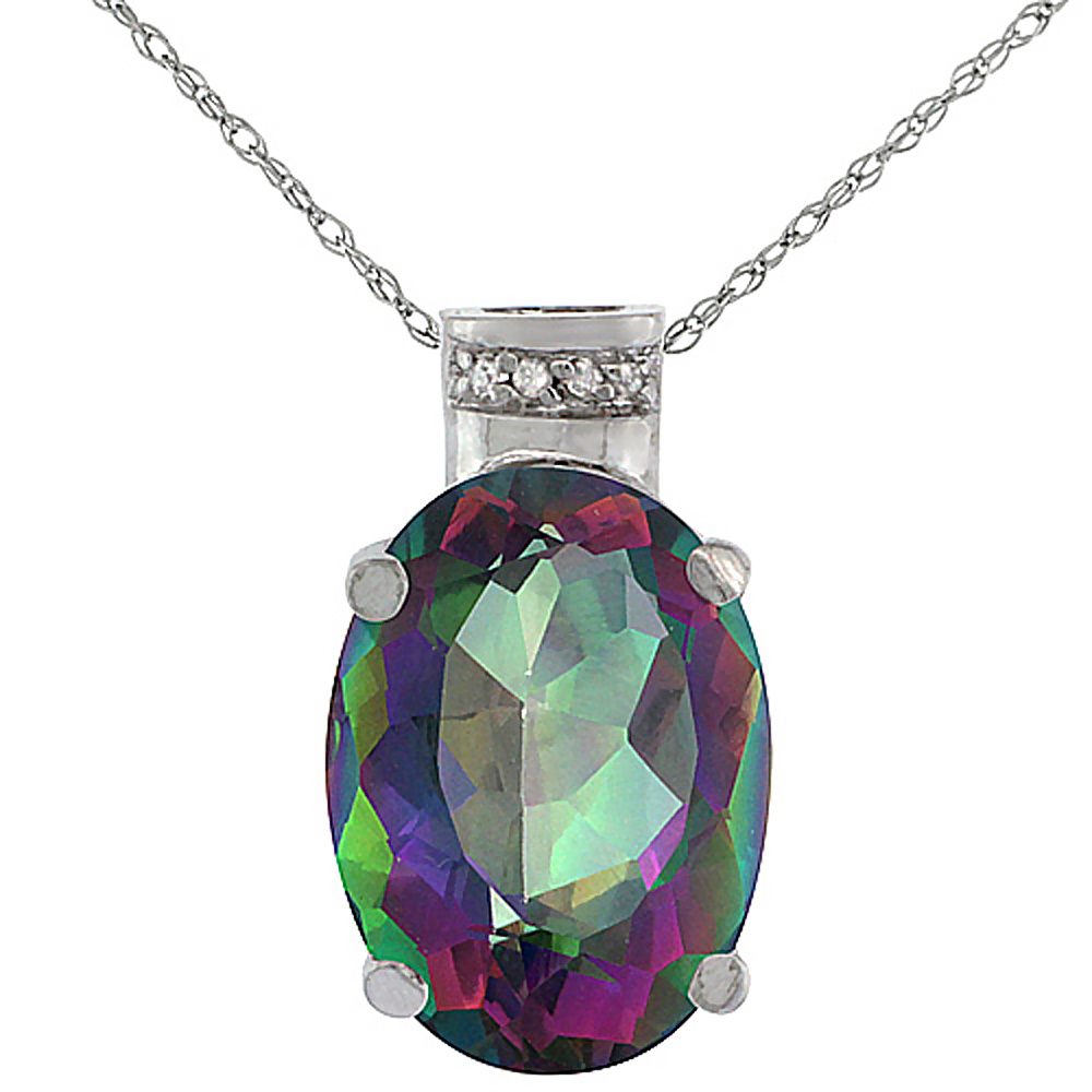 10K White Gold Diamond Natural Mystic Topaz Pendant Oval 14x10 mm