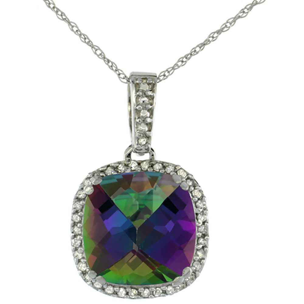 10k White Gold Diamond Halo Natural Mystic Topaz Necklace Cushion Shaped 10x10mm, 18 inch long