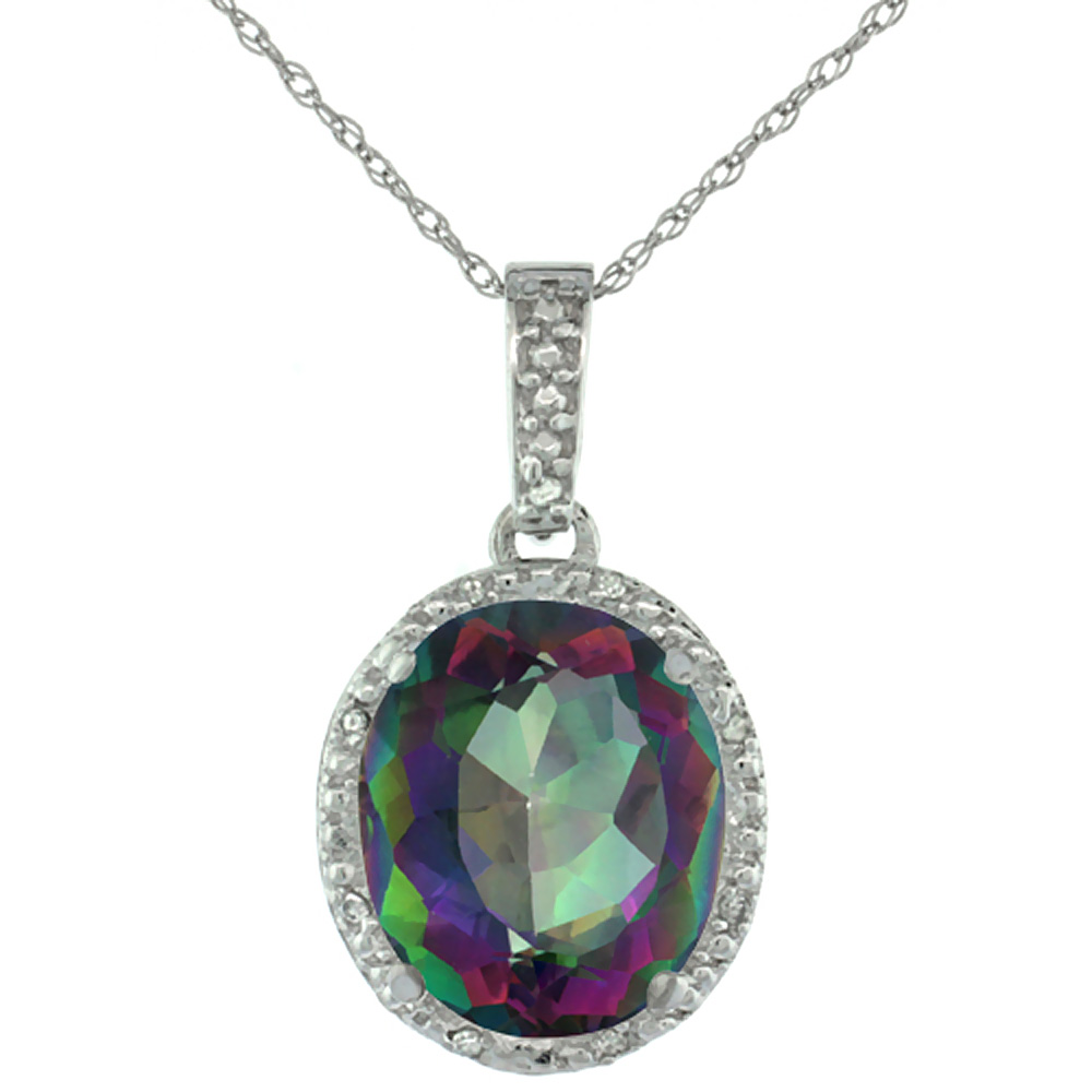 10K White Gold Diamond Halo Natural Mystic Topaz Necklace Oval 12x10 mm, 18 inch long