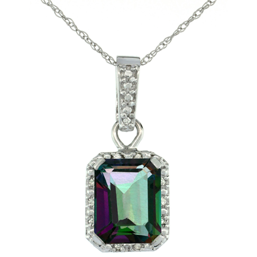 10K White Gold Natural Mystic Topaz Pendant Octagon 8x6 mm & Diamond Accents