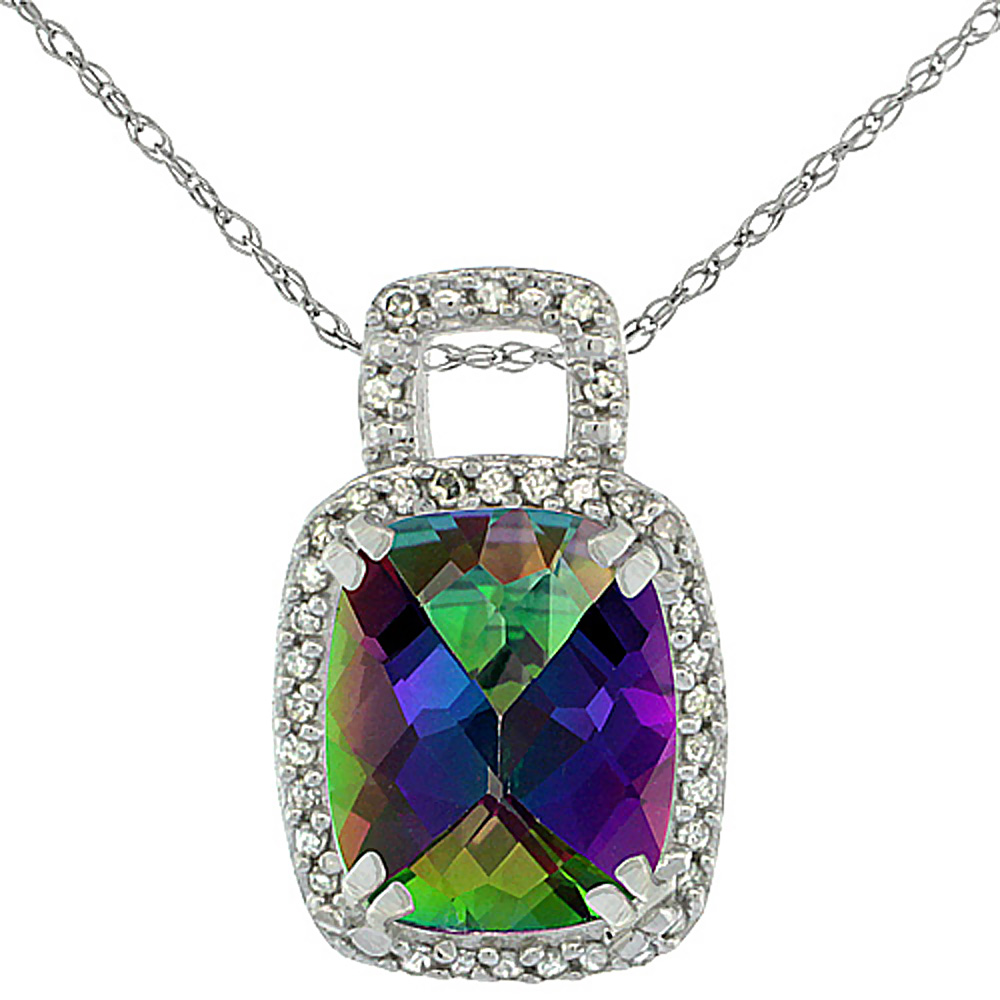 10K White Gold Natural Mystic Topaz Pendant Octagon Cushion 10x8 mm & Diamond Accents