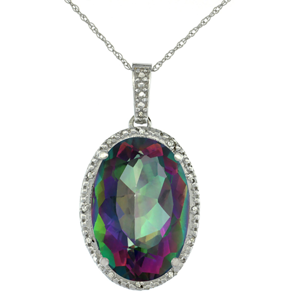 10K White Gold Diamond Natural Mystic Topaz Pendant Oval 18x13 mm
