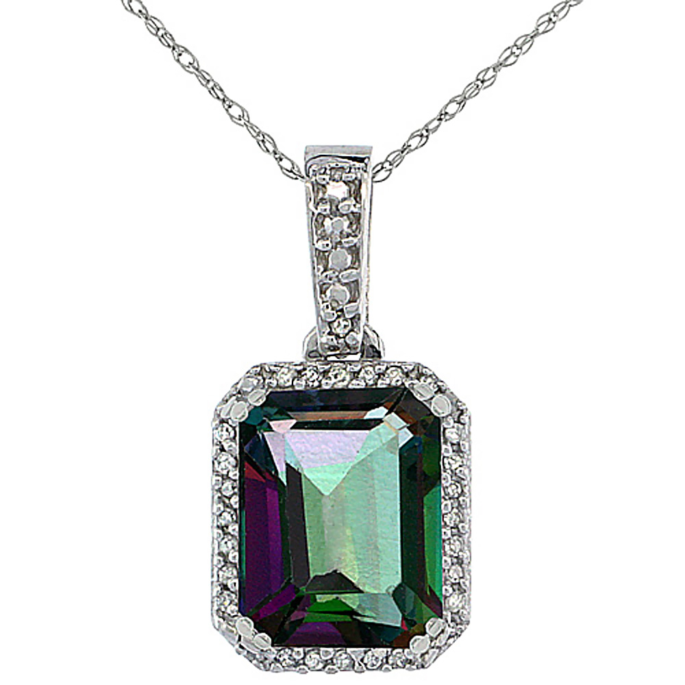 10K White Gold Diamond Natural Mystic Topaz Pendant Octagon 9x7 mm