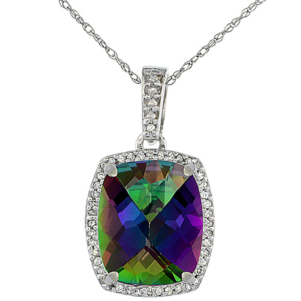 10K White Gold Natural Mystic Topaz Pendant Octagon Cushion 12x10 mm