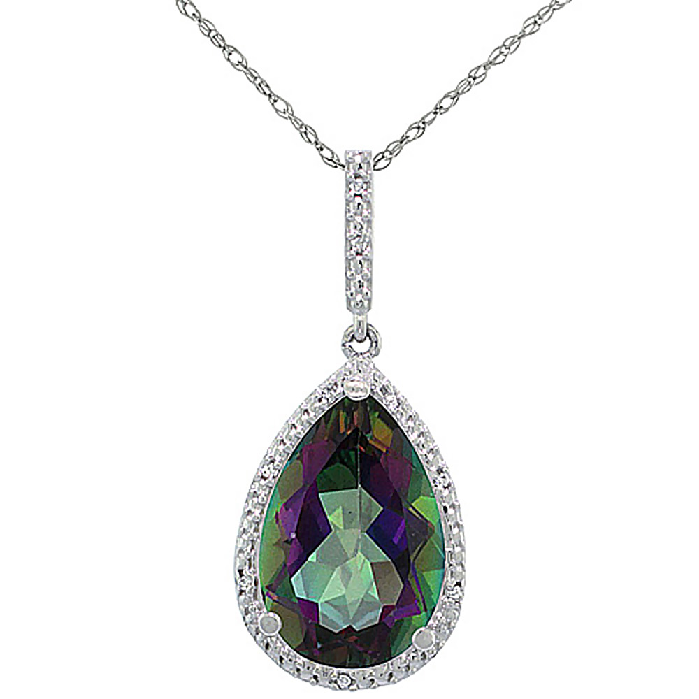 10K White Gold Diamond Natural Mystic Topaz Pendant Pear Shape 15x10 mm