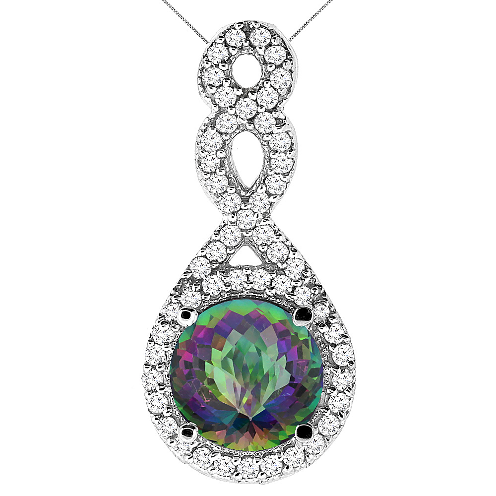 10K White Gold Natural Mystic Topaz Eternity Pendant Round 7x7mm with 18 inch Gold Chain