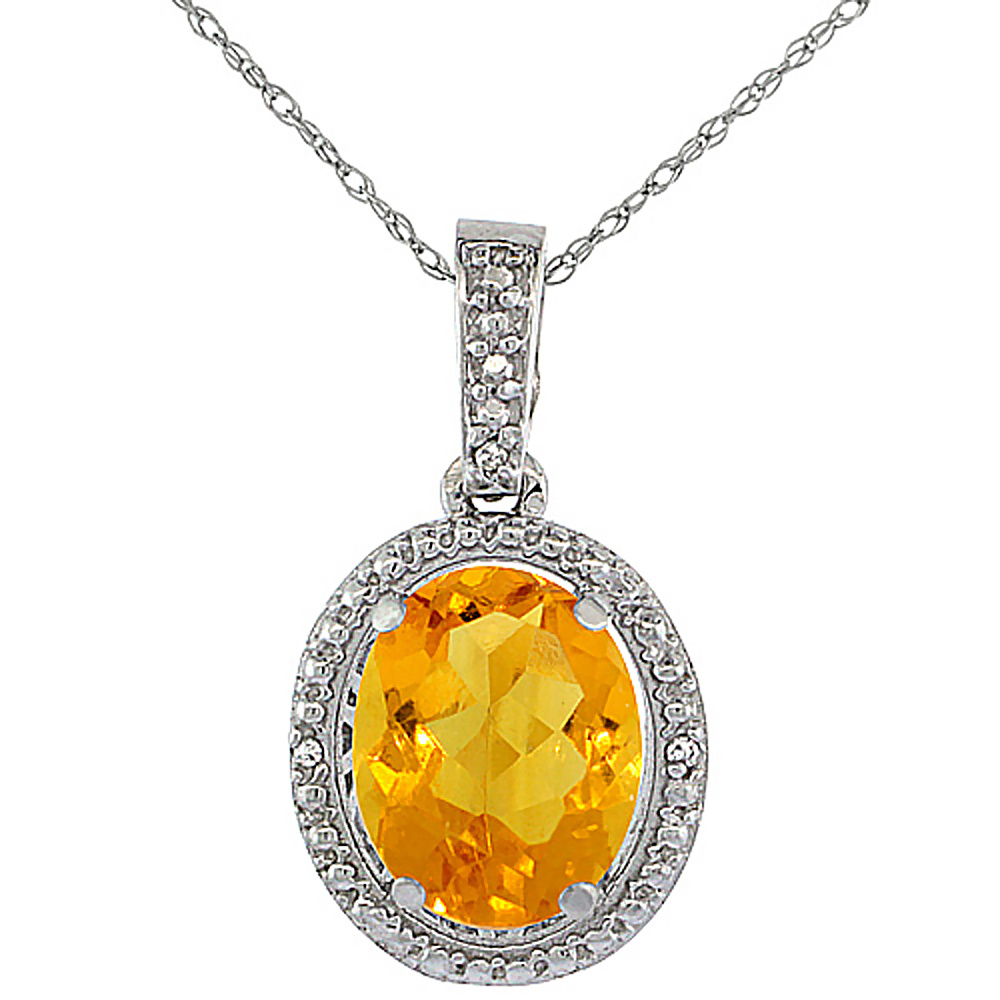 10K White Gold Diamond Natural Citrine Pendant Oval 10x8 mm