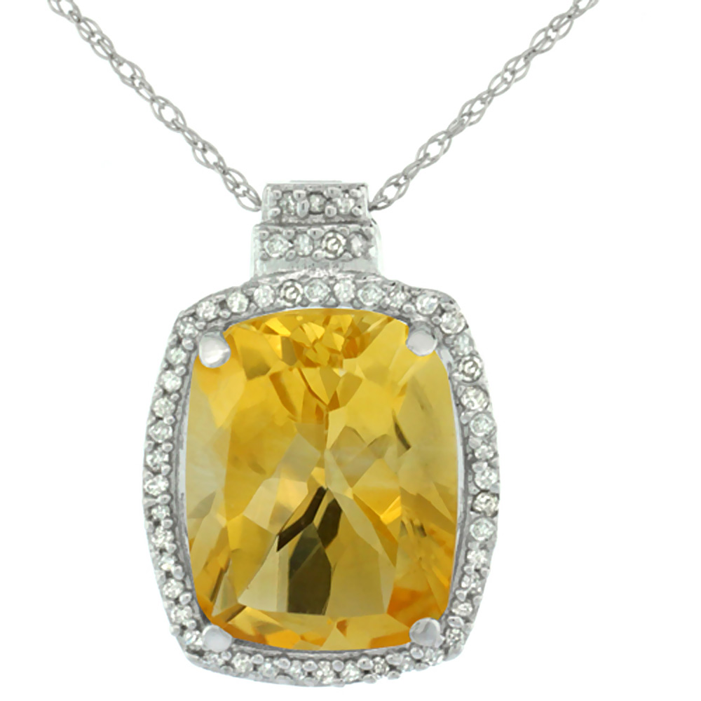 10K White Gold Diamond Natural Citrine Pendant Octagon Cushion 11x9 mm