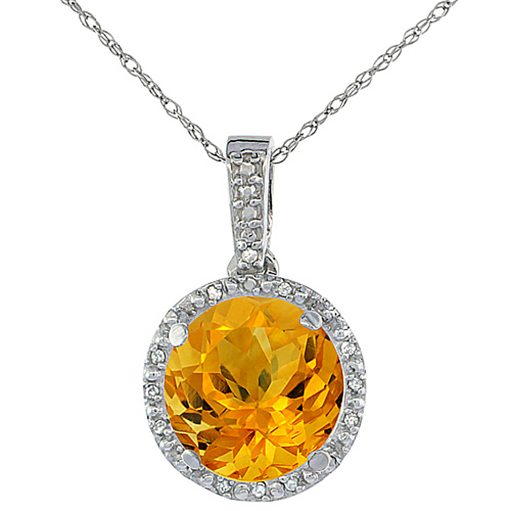 10K White Gold 0.03 cttw Diamond Natural Citrine Pendant Round 11x11 mm