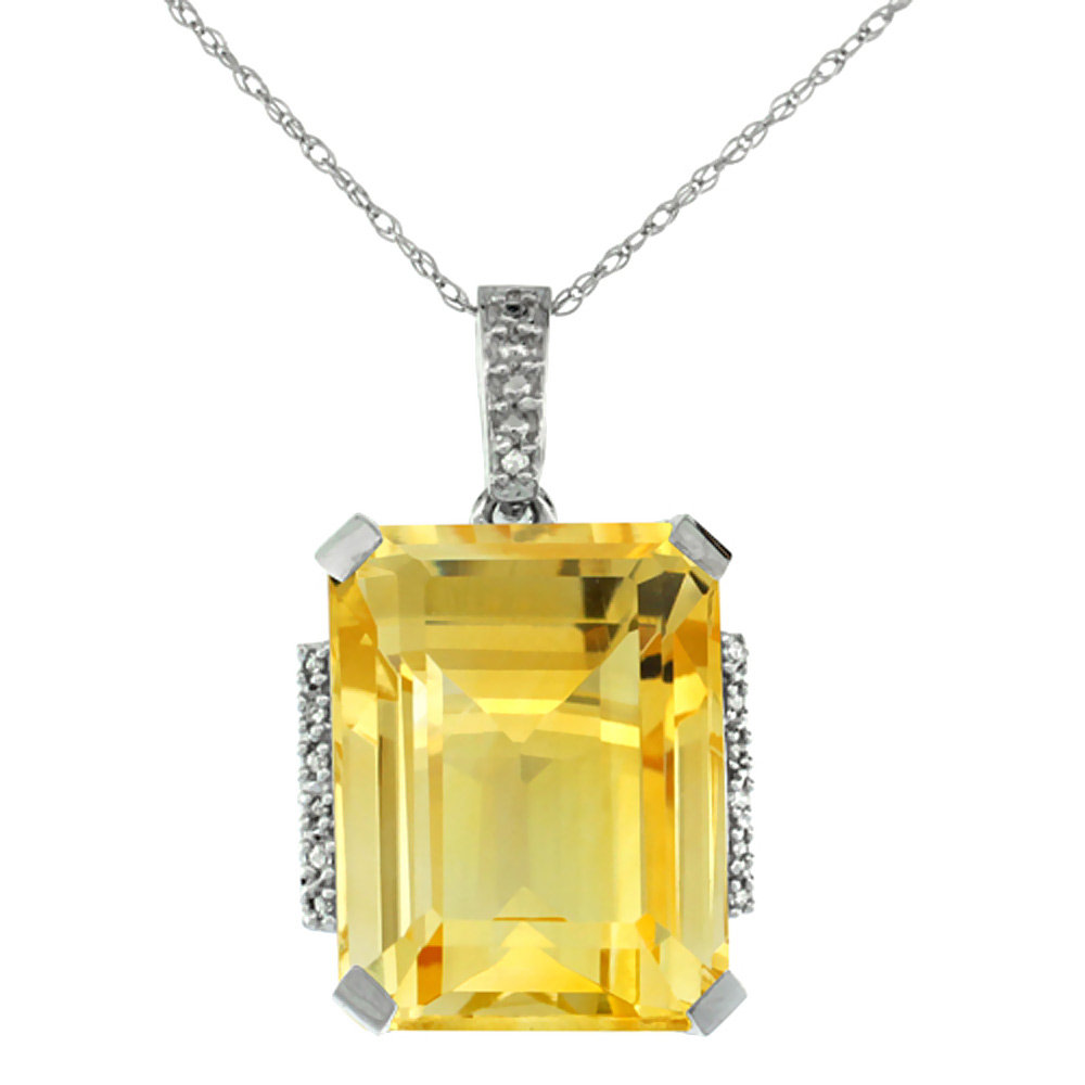 10K White Gold Natural Citrine Pendant Octagon 16x12 mm & Diamond Accents