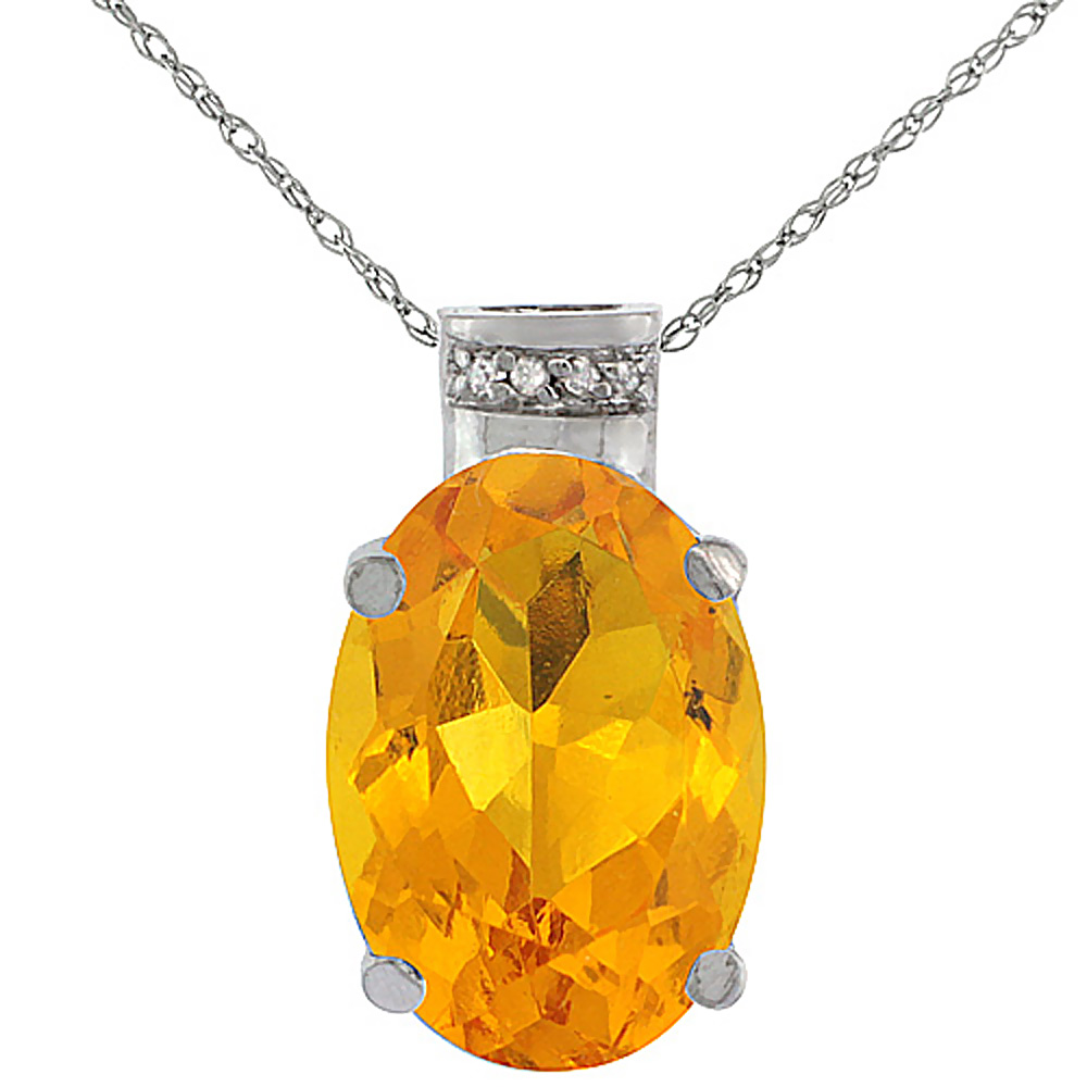 10K White Gold Diamond Natural Citrine Pendant Oval 14x10 mm