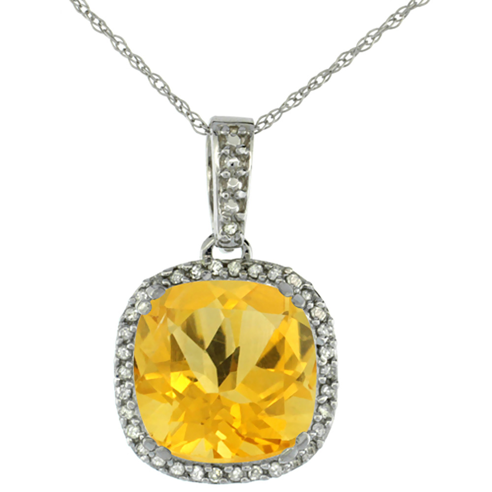 10K White Gold Natural Citrine Pendant Cushion 10x10 mm & Diamond Accents