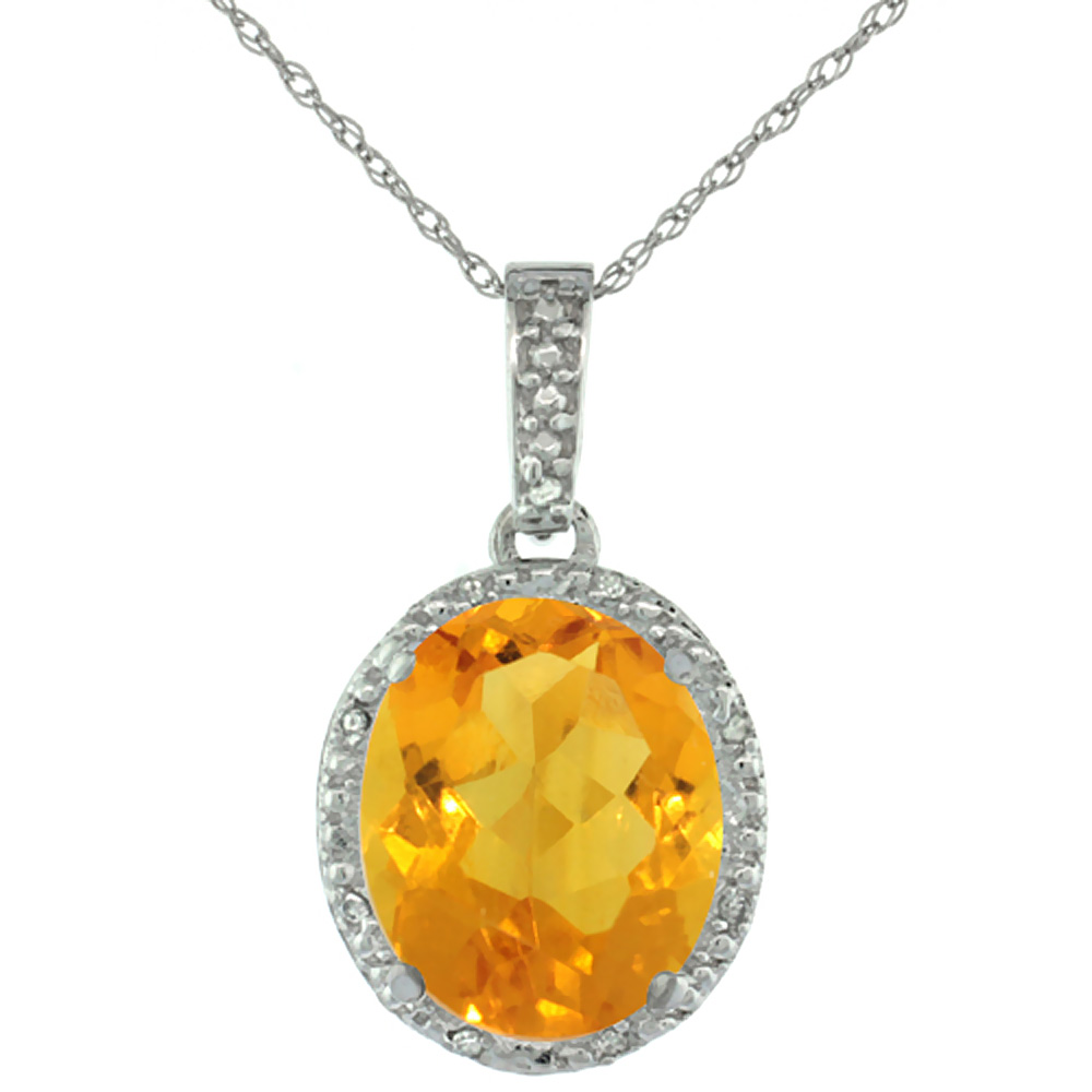 10K White Gold Diamond Natural Citrine Pendant Oval 12x10 mm