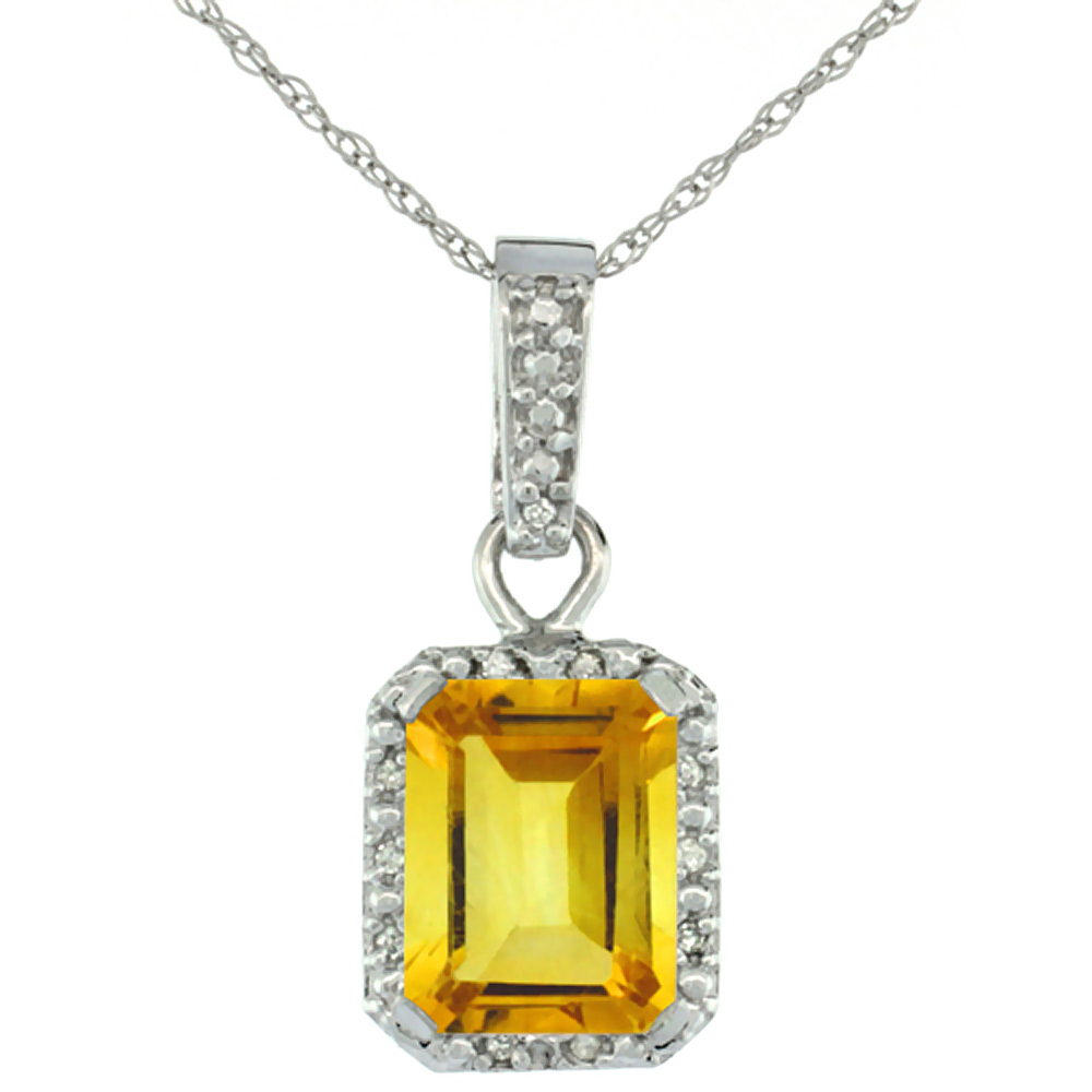 10K White Gold Natural Citrine Pendant Octagon 8x6 mm & Diamond Accents
