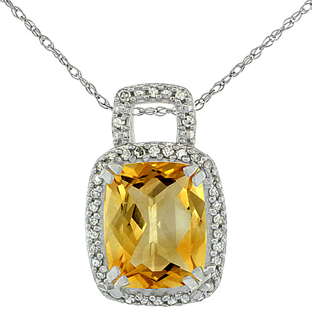10K White Gold Natural Citrine Pendant Octagon Cushion 10x8 mm & Diamond Accents