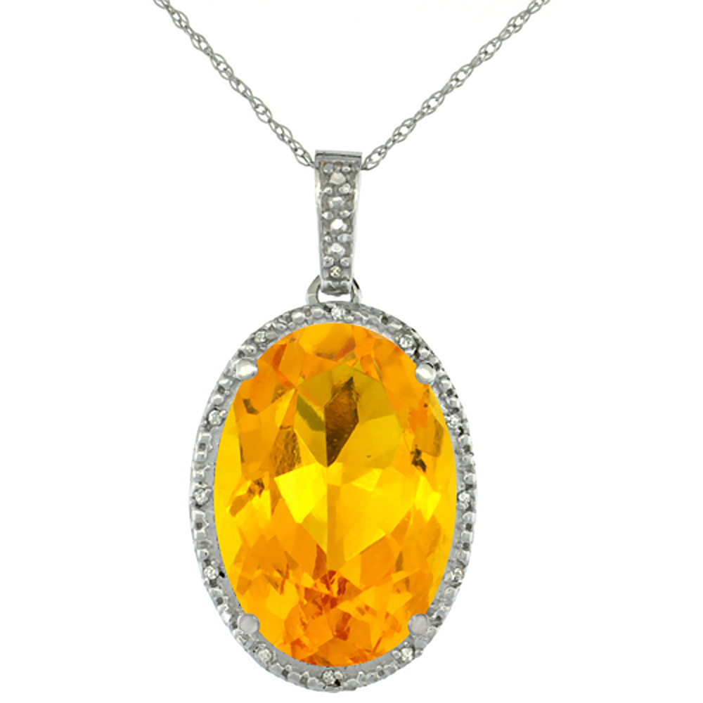 10K White Gold Diamond Natural Citrine Pendant Oval 18x13 mm