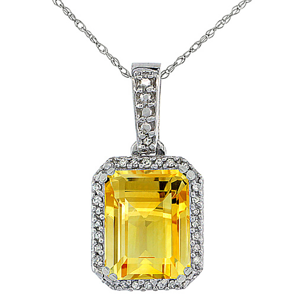 10K White Gold Diamond Natural Citrine Pendant Octagon 9x7 mm