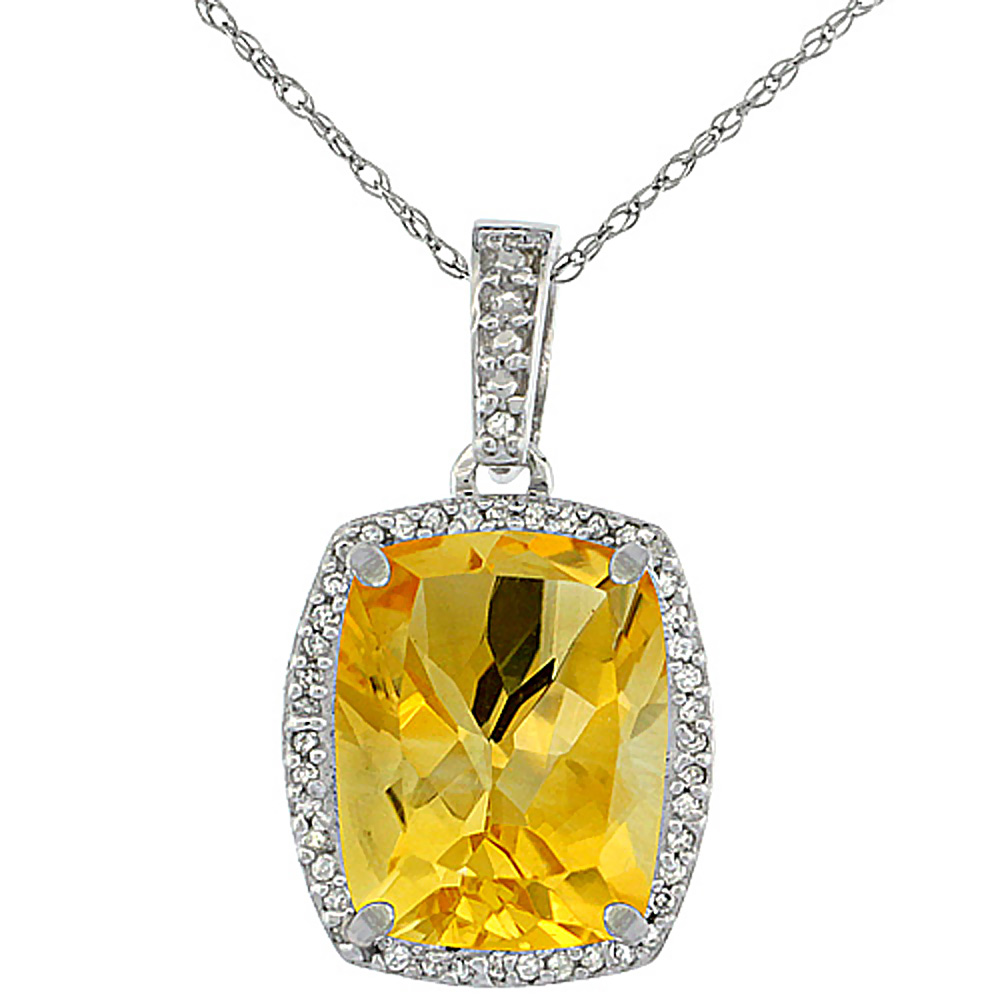 10K White Gold Natural Citrine Pendant Octagon Cushion 12x10 mm