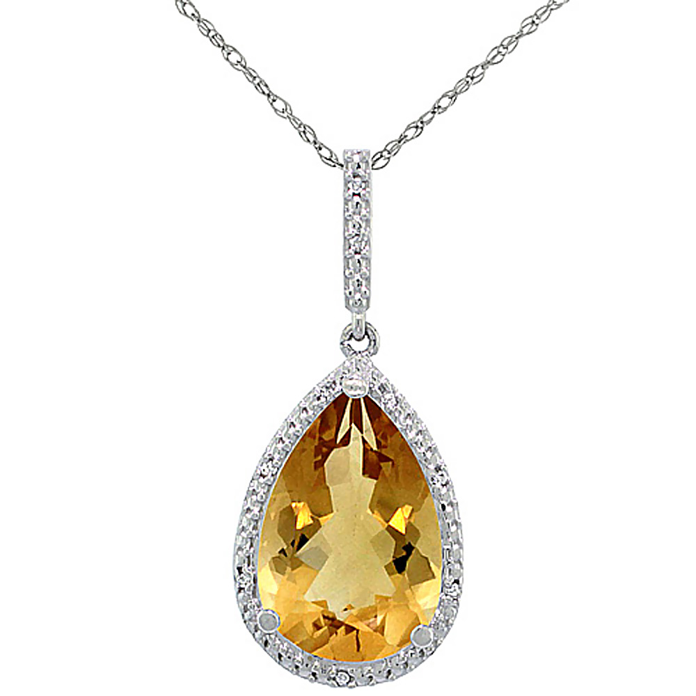 10K White Gold Diamond Natural Citrine Pendant Pear Shape 15x10 mm