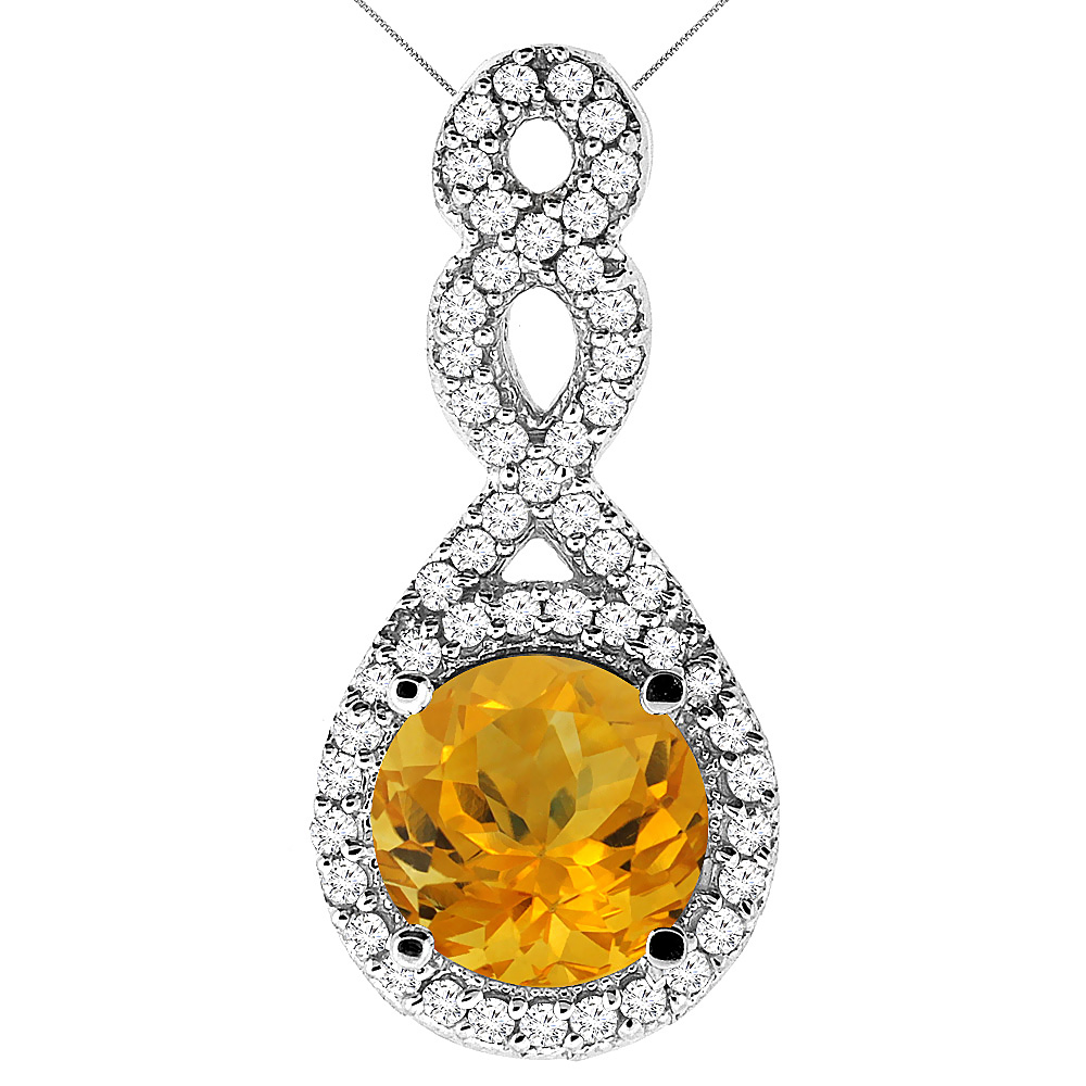 10K White Gold Natural Citrine Eternity Pendant Round 7x7mm with 18 inch Gold Chain