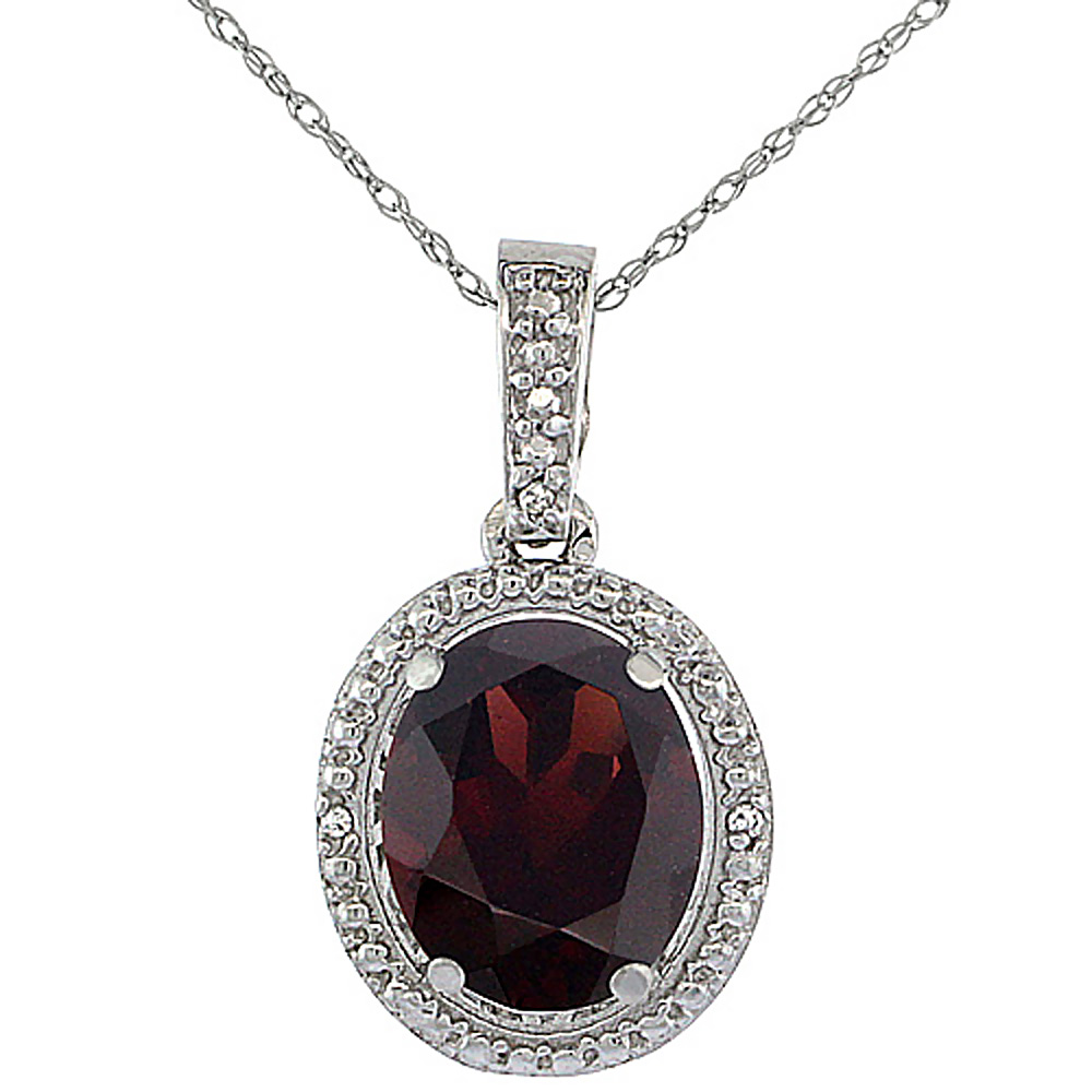 10K White Gold 0.09 cttw Diamond Natural Garnet Pendant Oval 10x8 mm