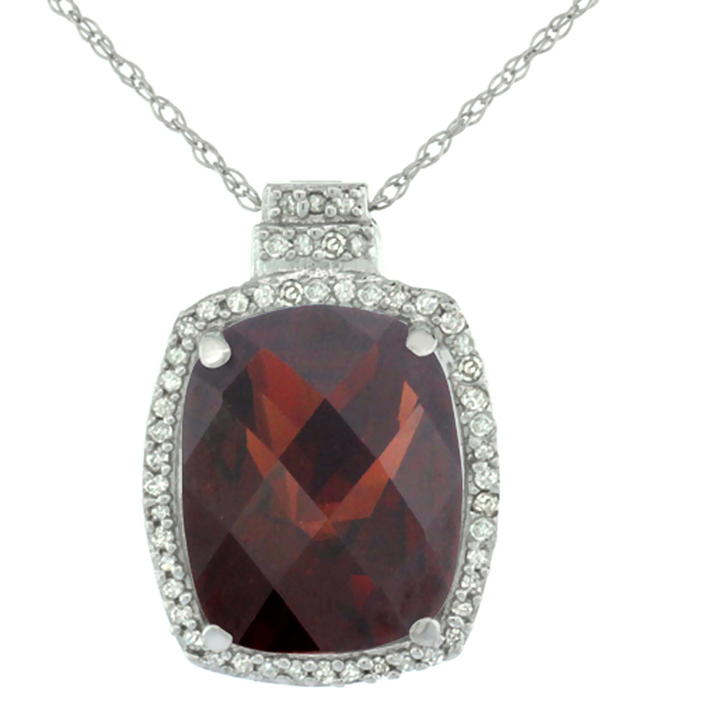10K White Gold 0.20 cttw Diamond Natural Garnet Pendant Octagon Cushion 11x9 mm
