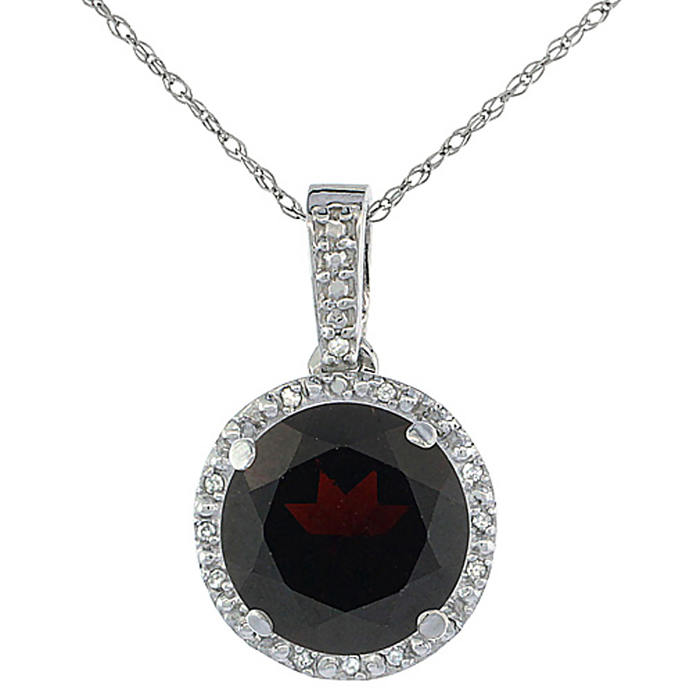 10K White Gold 0.03 cttw Diamond Natural Garnet Pendant Round 11x11 mm