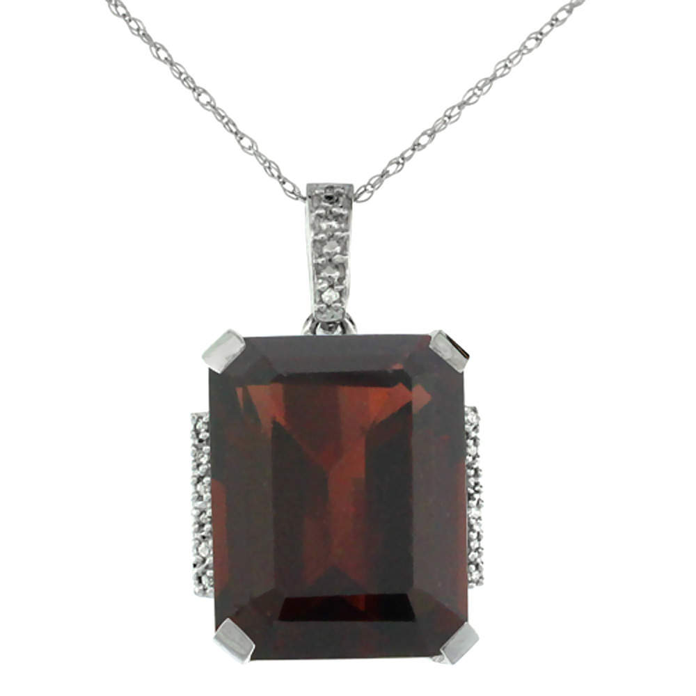 10K White Gold Natural Garnet Pendant Octagon 16x12 mm & Diamond Accents