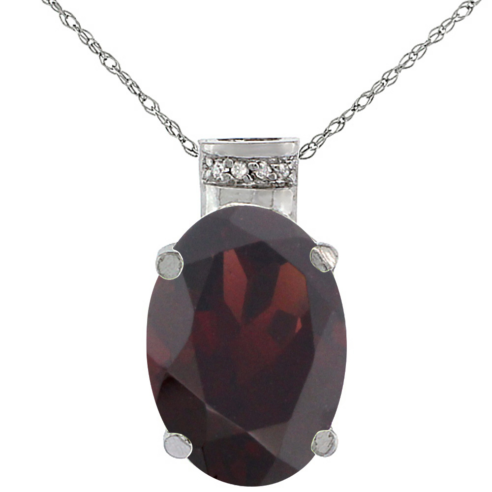 10K White Gold Diamond Natural Garnet Pendant Oval 14x10 mm