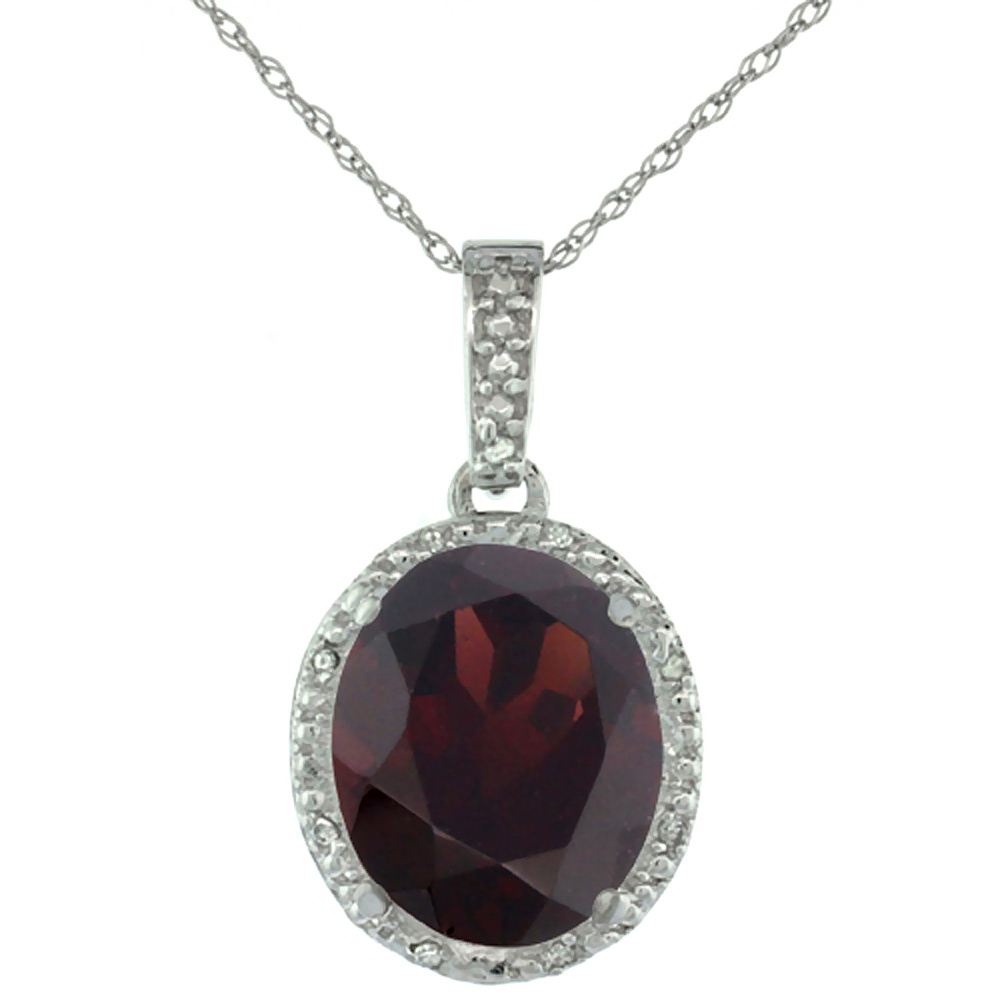 10K White Gold Diamond Natural Garnet Pendant Oval 12x10 mm