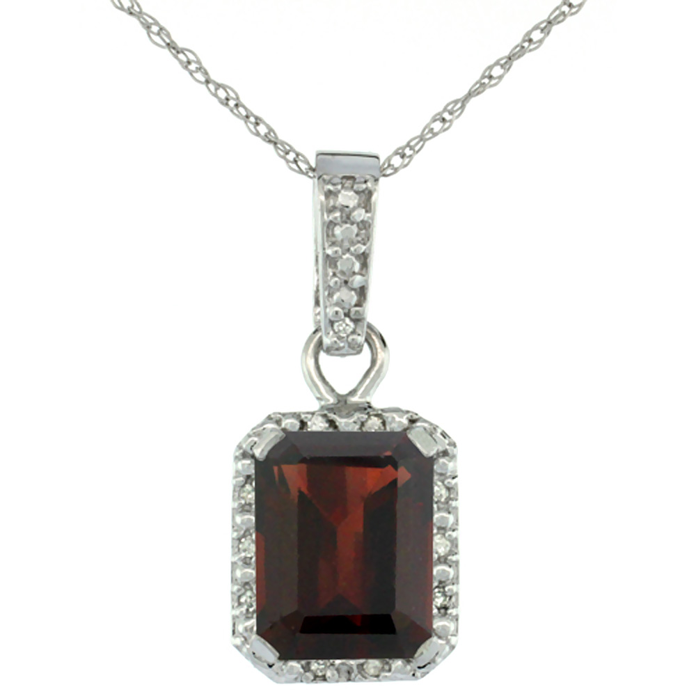 10K White Gold Natural Garnet Pendant Octagon 8x6 mm & Diamond Accents