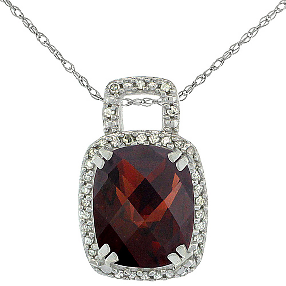 10K White Gold Natural Garnet Pendant Octagon Cushion 10x8 mm & Diamond Accents