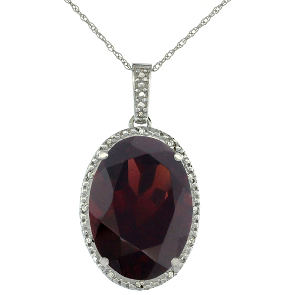 10K White Gold Diamond Natural Garnet Pendant Oval 18x13 mm