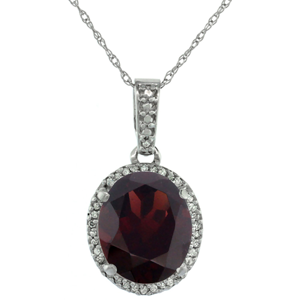 10K White Gold Natural Garnet Pendant Oval 11x9 mm