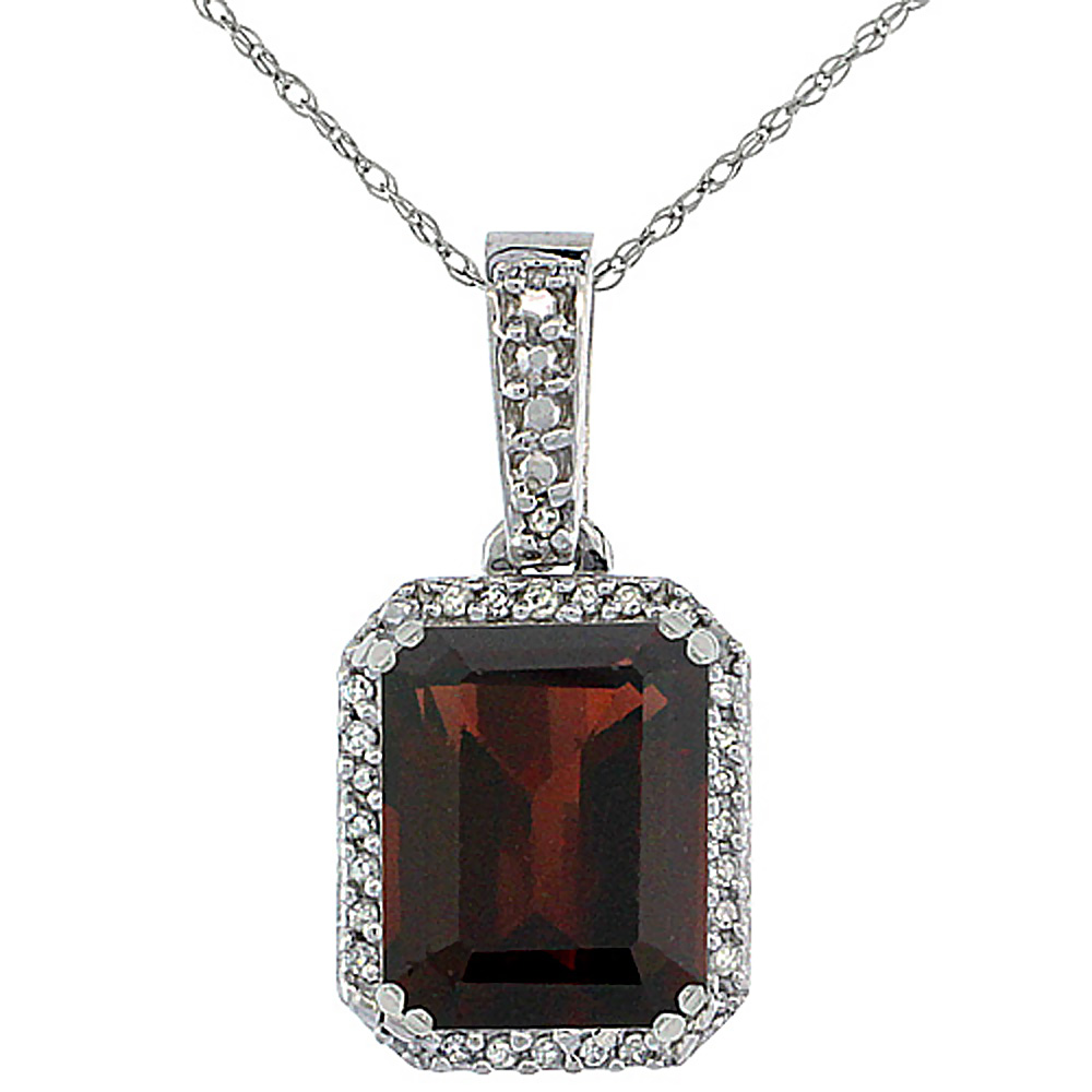 10K White Gold Diamond Natural Garnet Pendant Octagon 9x7 mm
