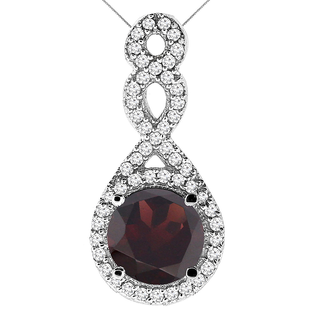 10K White Gold Natural Garnet Eternity Pendant Round 7x7mm with 18 inch Gold Chain