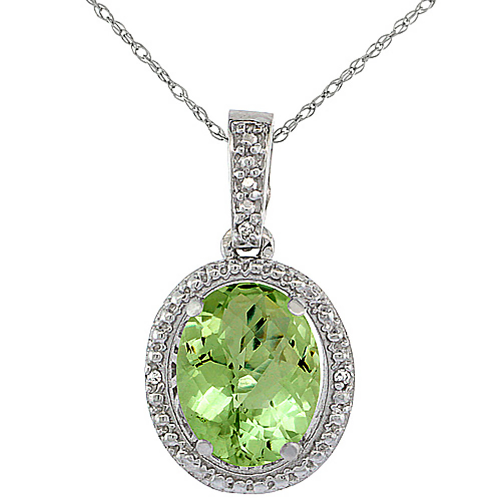 10K White Gold 0.09 cttw Diamond Natural Peridot Pendant Oval 10x8 mm