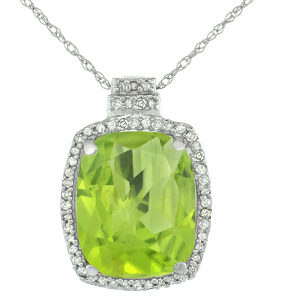 10K White Gold 0.20 cttw Diamond Natural Peridot Pendant Octagon Cushion 11x9 mm