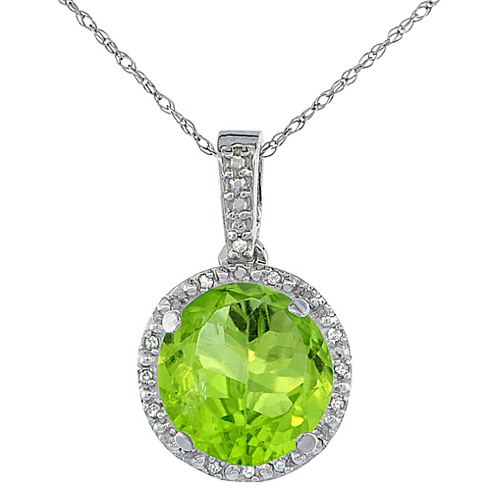 10K White Gold 0.03 cttw Diamond Natural Peridot Pendant Round 11x11 mm