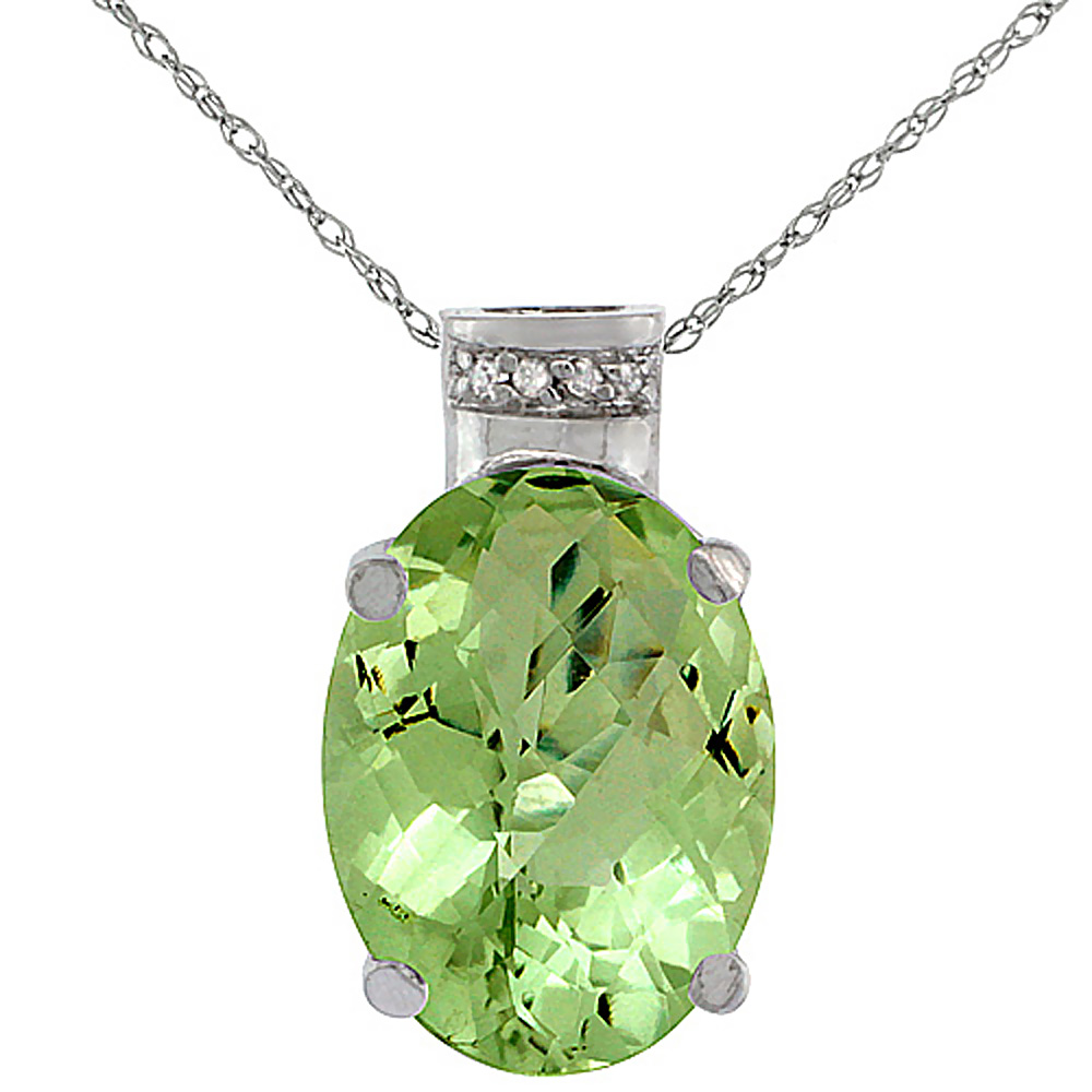 10K White Gold Diamond Natural Peridot Pendant Oval 14x10 mm