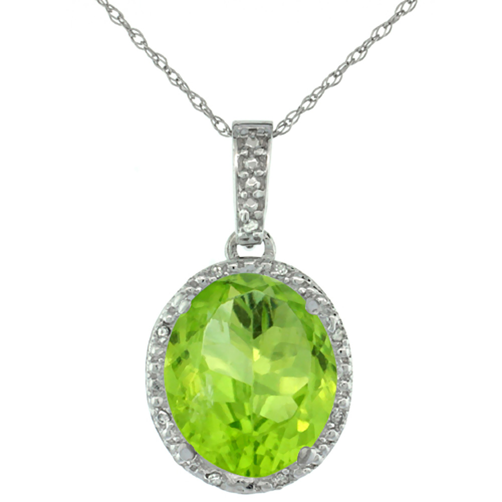10K White Gold Diamond Natural Peridot Pendant Oval 12x10 mm