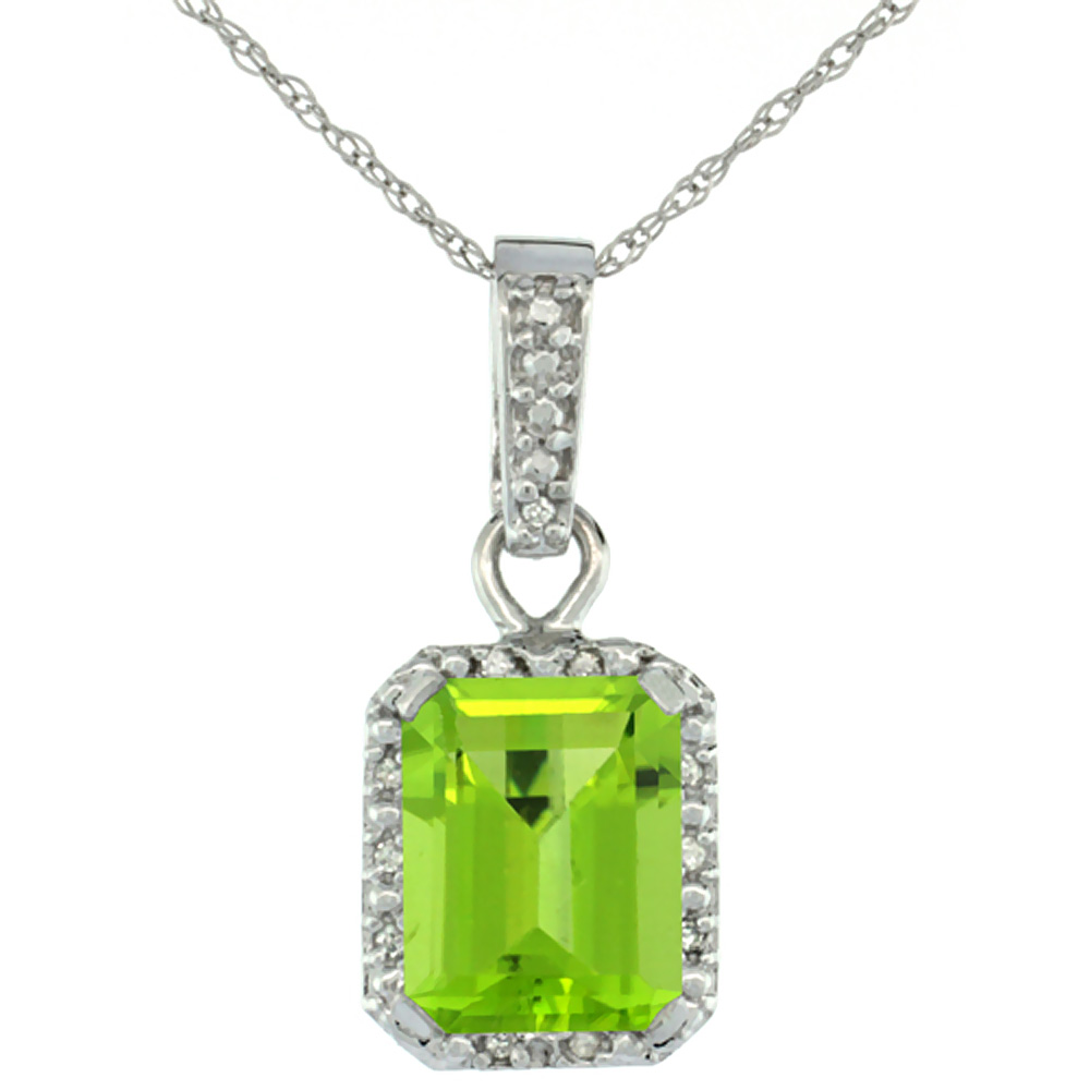 10K White Gold Natural Peridot Pendant Octagon 8x6 mm & Diamond Accents
