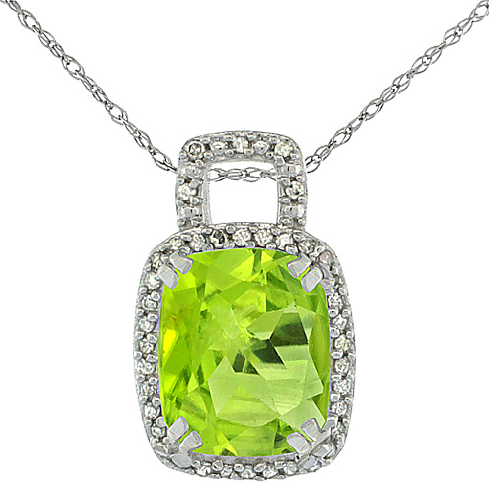 10K White Gold Natural Peridot Pendant Octagon Cushion 10x8 mm & Diamond Accents