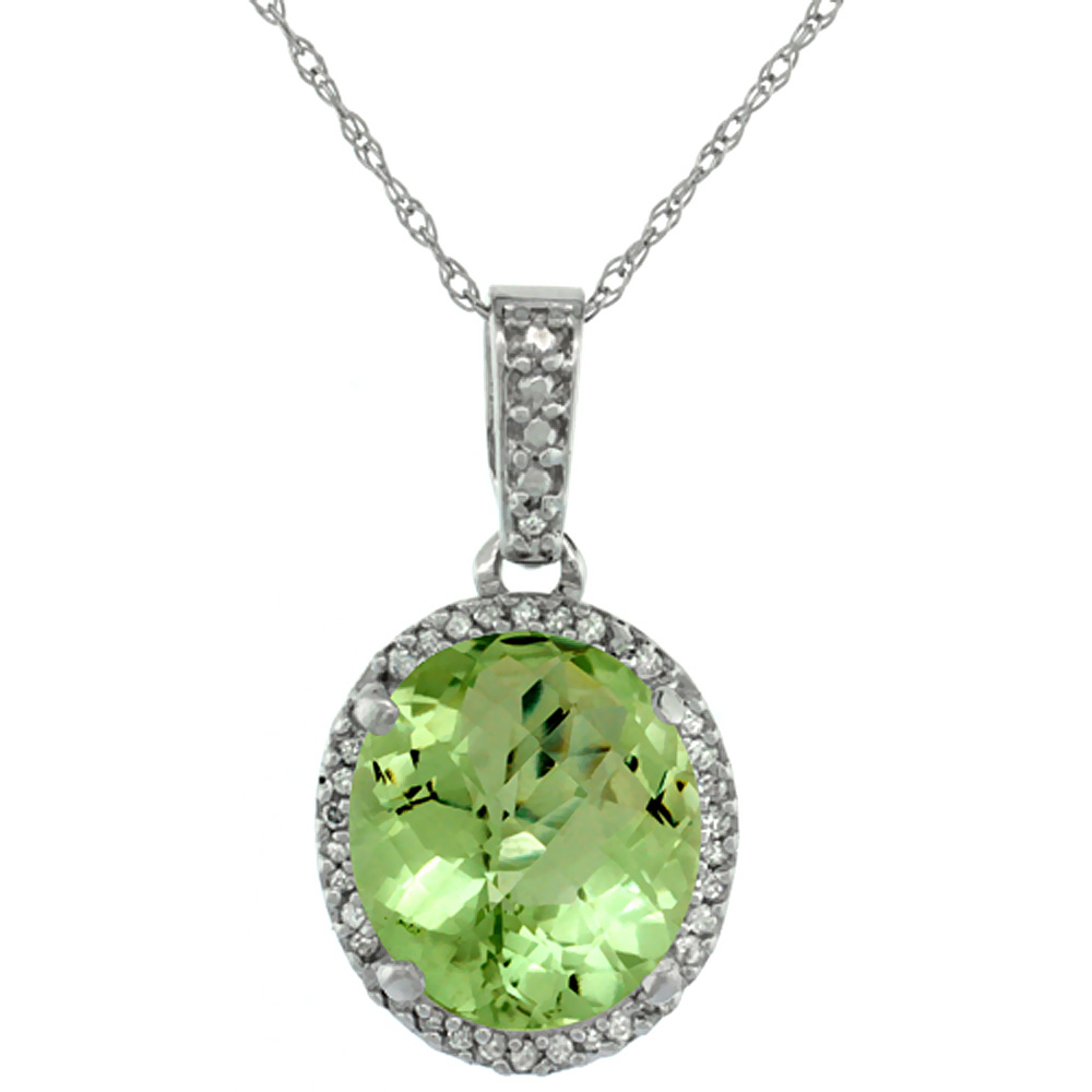 10K White Gold Natural Peridot Pendant Oval 11x9 mm
