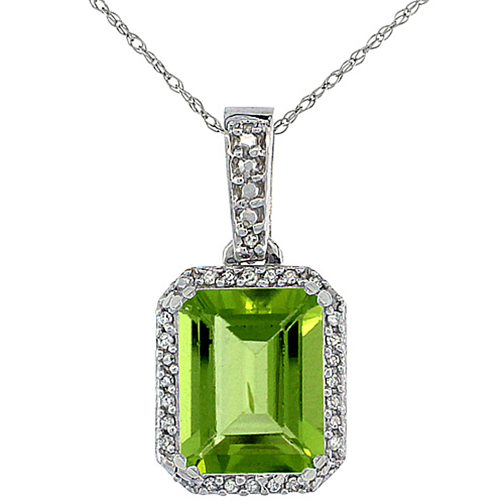 10K White Gold Diamond Natural Peridot Pendant Octagon 9x7 mm