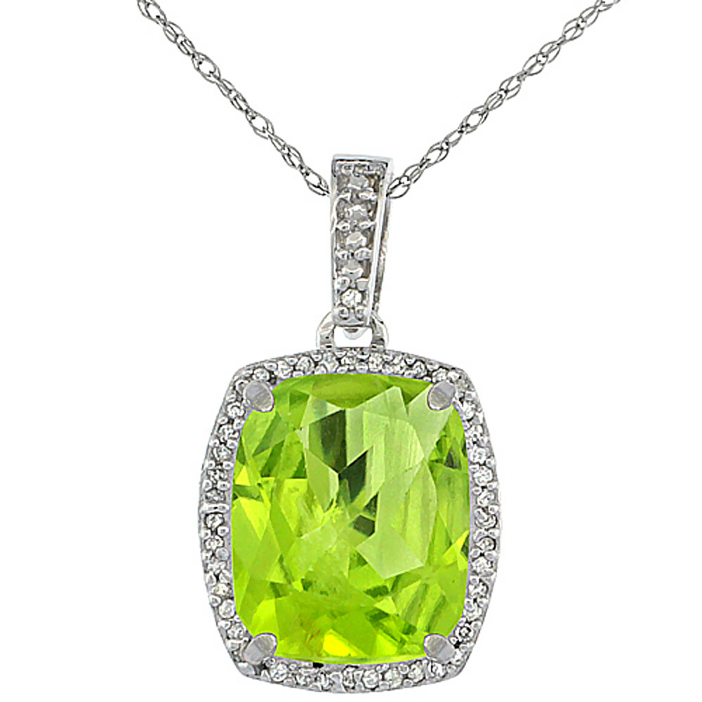 10K White Gold Natural Peridot Pendant Octagon Cushion 12x10 mm