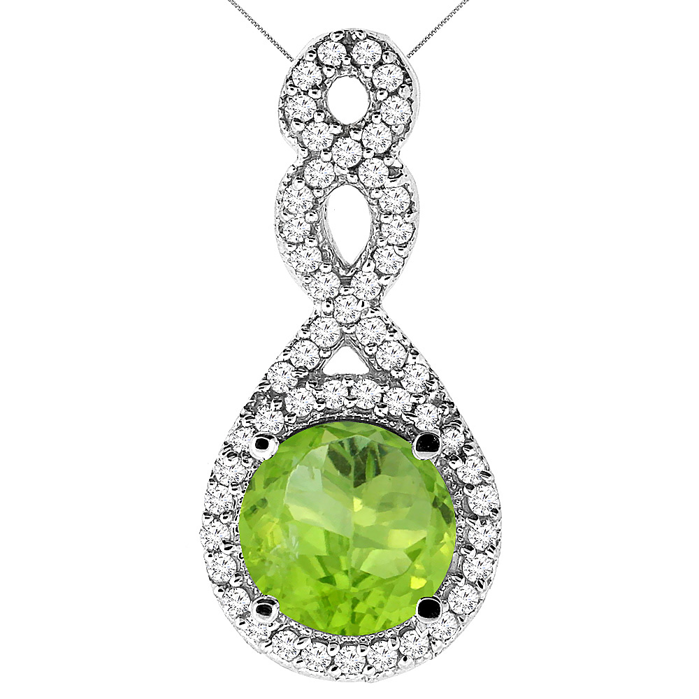 10K White Gold Natural Peridot Eternity Pendant Round 7x7mm with 18 inch Gold Chain