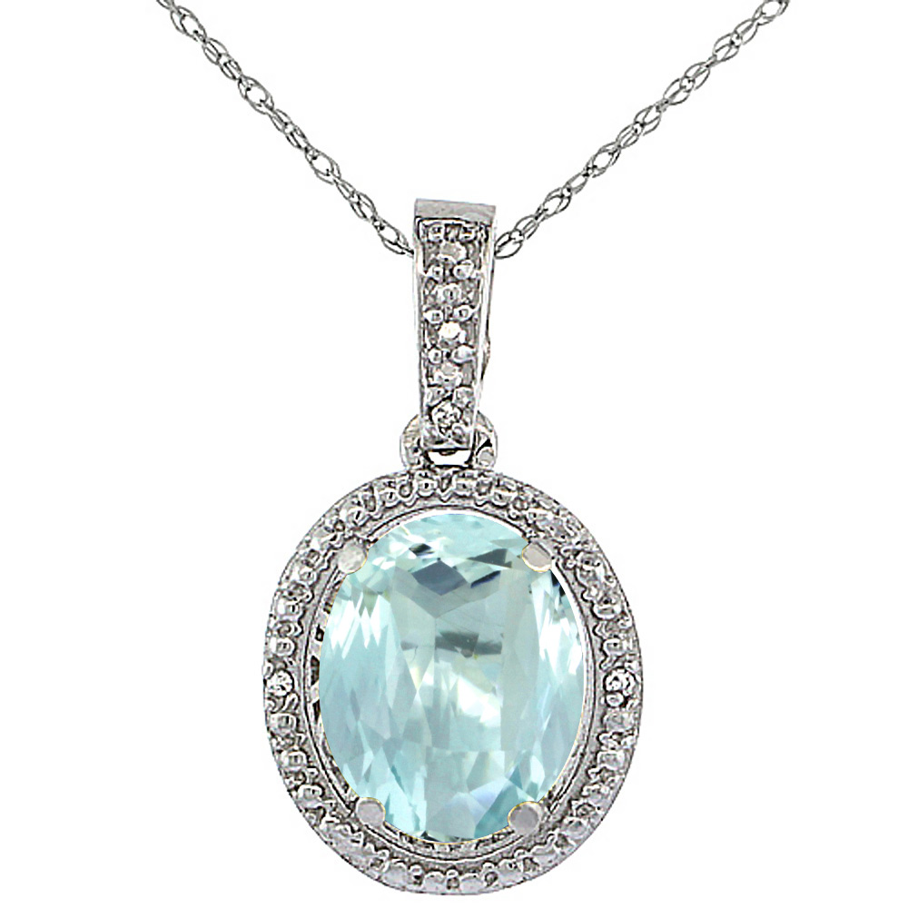 10K White Gold 0.09 cttw Diamond Natural Aquamarine Pendant Oval 10x8 mm