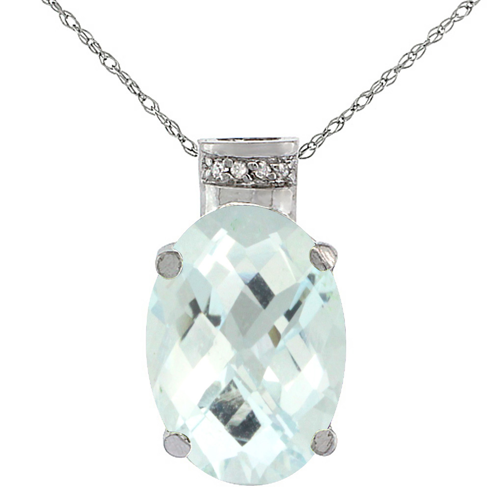 10K White Gold Diamond Natural Aquamarine Pendant Oval 14x10 mm